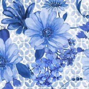 Bilde av Bomull Blue Jubilee - blå blomster