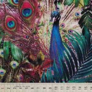 Bilde av Lin / viskose - påfugl med bregner