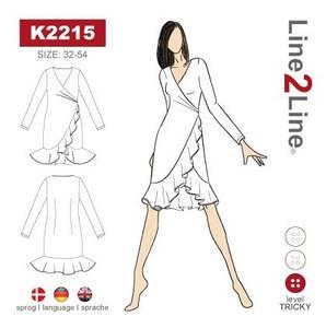 Bilde av Line2Line K2215 Omslagskjole med volanger - stretch stoff