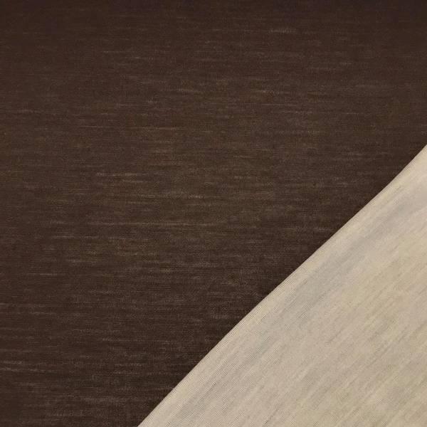 Strikket merinoull - tosidig ensfarget i brun og naturhvit