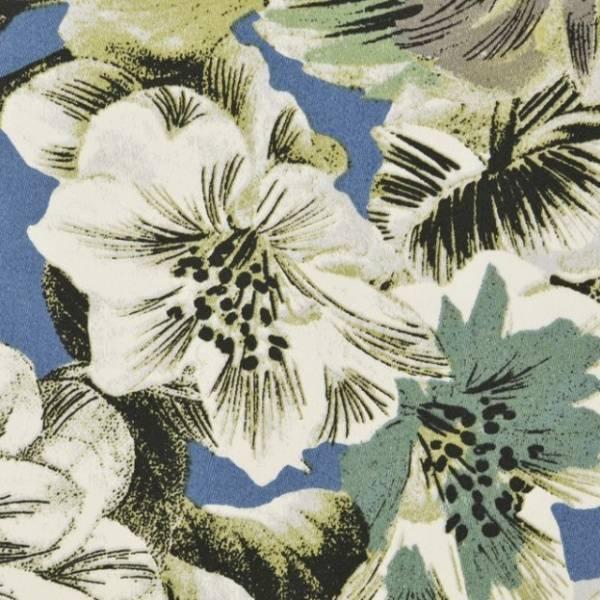 Bomull sateng blomster med blå bakgrunn