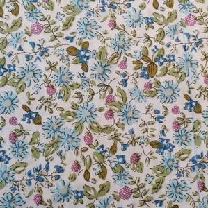 Bilde av Bomullspoplin - blomster blå