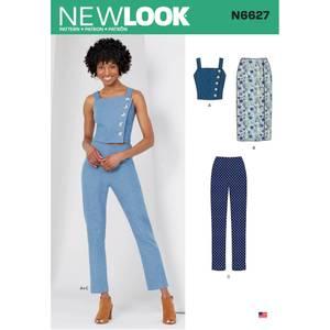 Bilde av New Look N6627 Skjørt, bukse, singlet og topp