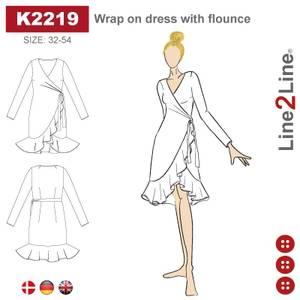 Bilde av Line2Line K2219 Omslagskjole med volanger - fast stoff