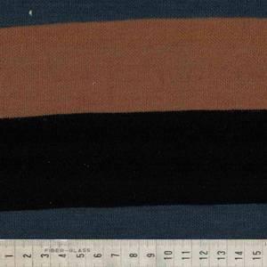 Bilde av Strikket merinoull - store striper i blå, rust oransje og sort
